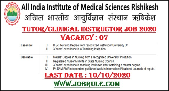 AIIMS Rishikesh Tutor Clinical Instructor Recruitment 2020