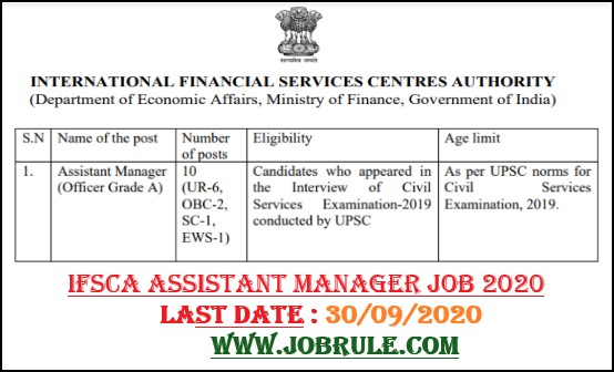 IFSCA 10 Assistant Manager Direct Recruitment 2020