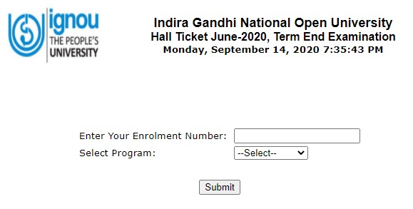 Download IGNOU Term End Examinations TEE Admit card 2020