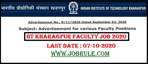IIT Kharagpur Faculty Position Recruitment 2020