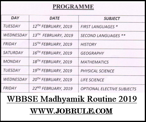 WB Class 10th Final Exam Routine 2019