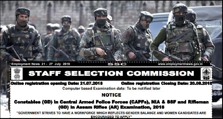 SSC 54953 Constable Recruitment 2018