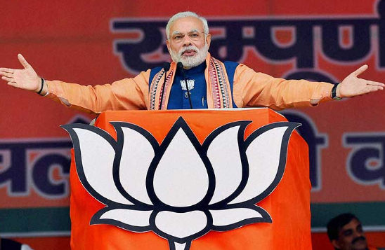 Narendra Modi with BJP Flag