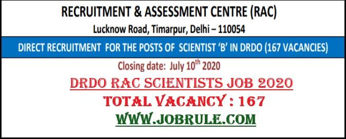 DRDO RAC Scientists Job 2020