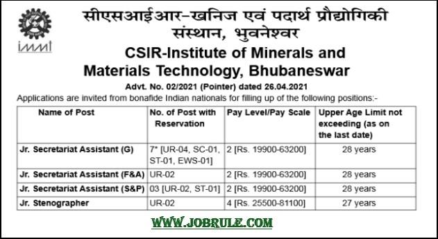 CSIR IMMT Bhubaneswar Recruitment 14 Assistant Steno 2021